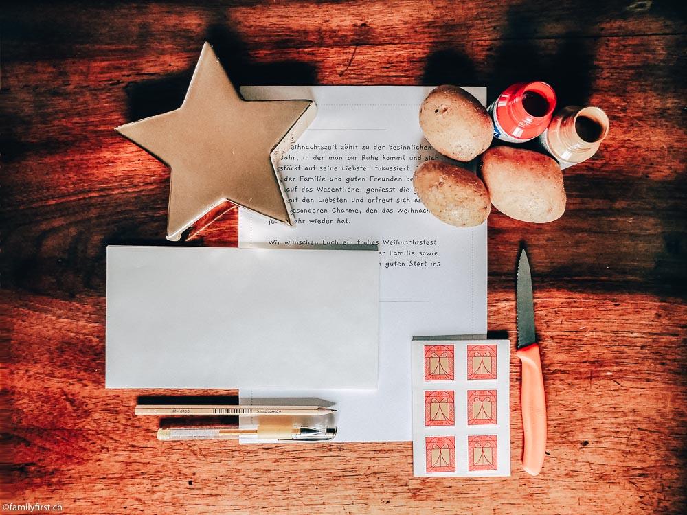 Weihnachtskarten selbst gestalten: Kartoffelstempel DIY